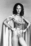 Actress Lynda Carter Posing as Wonder Woman